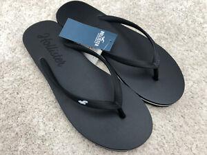 New Women's Hollister Flip Flops Size Small, UK 5 Black