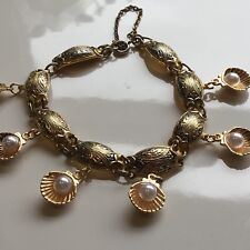 Vintage Spanish Damascene Charm bracelet Gold Plated Faux Pearl Shell Charms