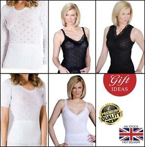 New Women's Thermal Spencer Underwear Short Long Sleeved Vest T Shirt Tops