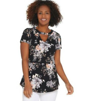 Isaac Mizrahi Live! Floral Printed Knit Peplum Top with Keyhole - Black - Large