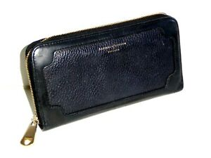 ASPINAL OF LONDON BLACK LEATHER CONTINENTAL ZIP AROUND PURSE / WALLET