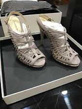 Alexandre Birman Salto Meia Pata, Light Grey/Patina Size 6 1/2