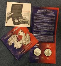 """2003 U.S. Mint """"Legacies of Freedom"""" U.S. & U.K. Silver Bullion Coin Set"""