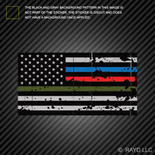 Thin Blue Line Police Firefighter Military Tattered Flag Sticker american flag