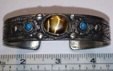 Silver Color Metal Bracelet. Filigree, Tigers Eye Stone & Etched Dragon Inside!