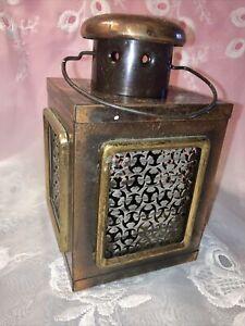 "Vintage Metal Copper Hanging Lantern Table Tea Lamp Candle Holder 7.5"" Hong Kong"