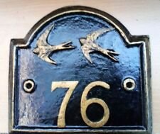 Handmade Swallows Door/Wall Plaque - Fits Up To Any 3 Numbers
