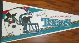 San Antonio Texans 1995 Cfl Football Pennant Rare with David Archer Autograph