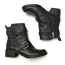 Lucky Brand Hanae Womens Black Leather Buckle Wrap Biker Moto Boots Size 6