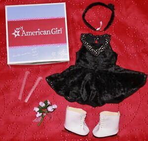 American Girl Doll MIDNIGHT SKATE OUTFIT Black Velvet Dress, Ice Skates, Bouquet