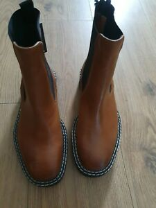 M&S  Leather Upper Tan Pull On Boots Uk Size  4