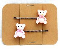 PINK TEDDY BEAR Toy - Handmade Bobby PIn Hair clips - Set of 2