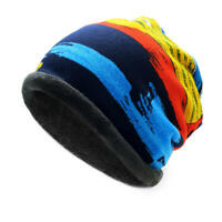 Mens Womens Winter Plus Cashmere Stripe Beanie Scarf Outdoor Warm Bonnet Hat