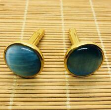 Men's Gift  Burmese Vintage Blue Agate Cufflinks (JC24)