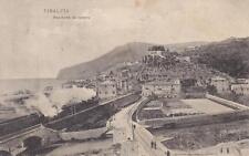 C373) FINALPIA (FINALE LIGURE), PANORAMA DA LEVANTE, TRENO E STAZIONE. VG. 1907.