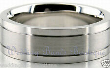 14K WHITE GOLD MENS WEDDING BAND FLAT SATIN MATTE FINISH MAN MEN RING 6mm