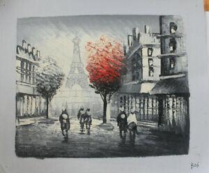 Hand Painted Landscape Oil Painting Paris Street Scene Eiffel Tower Wall Art B06