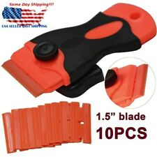 Sticker Scraper + 10Pcs Plastic Double Edged Razor Blades for Removing Glue Tool