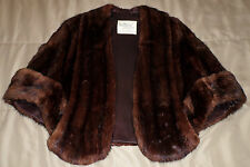 Vintage LaBelle Brown Muskrat Fur Coat Cape Size Small