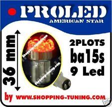 2 ampoules 9 led Rouge,feux stop/veilleuse P21/5W Ba15s
