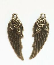 2 x  BRONZE COLOUR ANGEL WING PENDANT WITH A ROSE CHARM 31 x 10mm