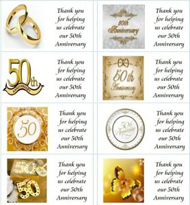 40 x Personalised 50th Wedding Anniversary labels/stickers/party/cake/sweet/bag