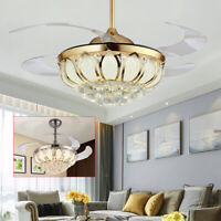 """42"""" Crystal Ceiling Fan Chandelier w/ Led Light Remote Retractable Blades US NEW"""