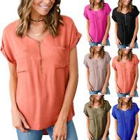 Women Short Sleeve zipper Summer T shirts Ladies V-Neck Loose Pocket Tops CA