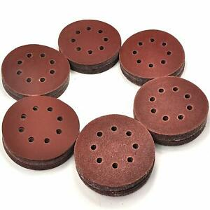 120 Pack 5 Inch Sandpaper Discs, Hook and Loop Adhesive, 8 Hole, Assorted Grits