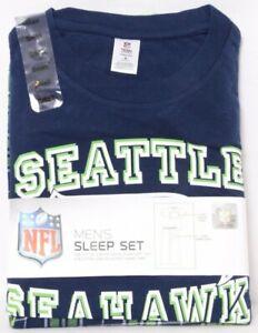 NEW Seattle Seahawks NFL Apparel SS Shirt Flannel Pants Pajama Set Men's S