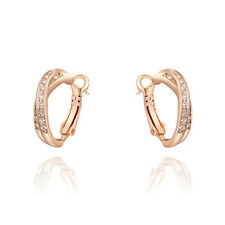 Fashion Jewelry 18K Rose Gold Plated Austrian Crystal Cross Hoop Earrings +BOX
