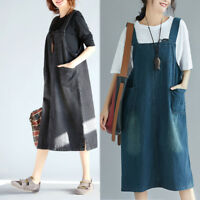 Women Girl Denim Overalls Bib Dress Suspender Jean Skirt Pinafore Loose Casual