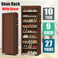 10 Tier 9Grid Shoe Rack Shelf Home Storage Cabinet Organizer Closet Stand Coffee