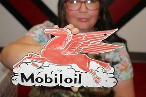 Mobil Pegasus Mobiloil Motor Oil Gas Station Porcelain Metal Sign