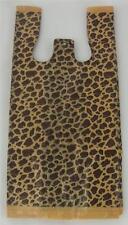 50 Leopard Print Design Plastic T Shirt Retail Shopping Bags Handles 8x5x16