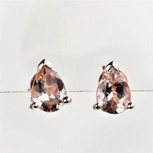 NATURAL MORGANITE EARRINGS 7 x 5 PEAR CUT GEMSTONES 9K ROSE GOLD GIFT BOXED NEW