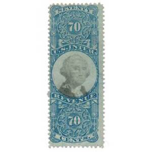 R117 70c Second Issue, Blue & Black, George Washington, U.S. Revenue Stamp, 1871