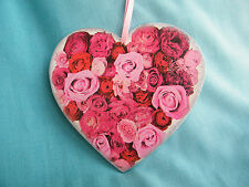 Woden heart ornamet with roses, heart shape, shabby chic, wall decor, love gift