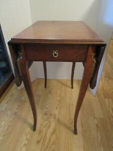 Mahogany wood PEMBROKE  INLAID SIDE TABLE Floral inlay 1 drawer brass Accents