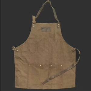 Hammer & Axe Cotton Canvas Shop Style Apron w Pockets Leather Strap Brown Brass