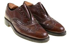 VTG SHELL CORDOVAN Brown Maroon Patina Wingtip Oxford Balmoral Dress Shoes 7.5