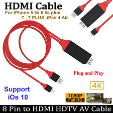 8 Pin 2M Lightning to HDMI HDTV AV Cable Adapter for iPad iPhone 6 6S 7 7 Plus