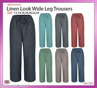 New Ladies Women Pull On Linen Look Wide Leg Trousers Plus Sizes 12-24 Casual