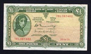 Irlanda / Ireland - 1 pound 30.9.1976 BB/VF  A-03