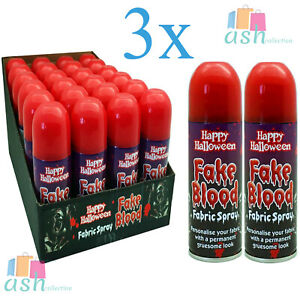 New 3x Red Fake Blood Happy Halloween Fabric Spray With Gruesome Look