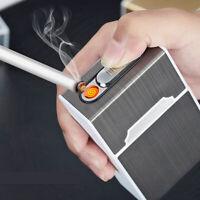 Briquet Allume-Cigarette Électrique Usb Rechargeable Boîte + Étui À Cigarettes