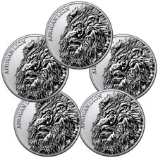 Lot of 5 -2018 Republic of Chad African Lion 1 oz Silver GEM BU SKU51642