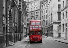 Rojo Londres City Bus Union Jack Papel Pintado Foto Mural Pared 335x236cm Enorme