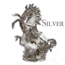 Large Italian Silver Chrome Horse With Foal Home Decor Ornament 36 Cm Tall Gift