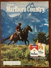 Vintage 1980 Original Print Ad MARLBORO Country CIGARETTES Red & Lights